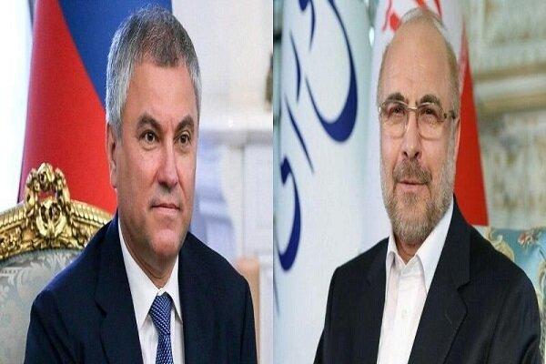 قاليباف يبحث مع نظيره الروسي آخر التطورات في العلاقات الثنائية والقضايا الاقليمية