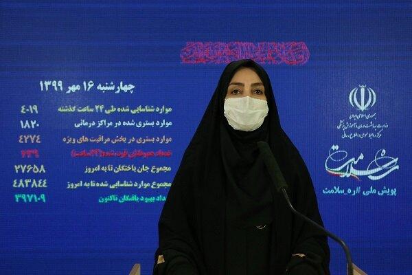 الصحة الايرانية: 4142 اصابة جديدة بكورونا والمتعافين 401379 شخصاً