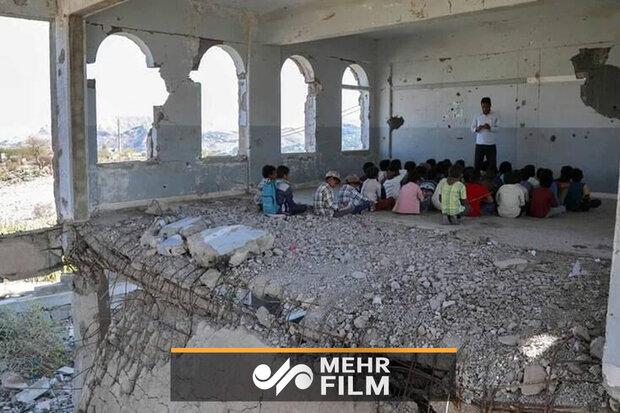Yemen'de yıkılmış okullarda ders yılı