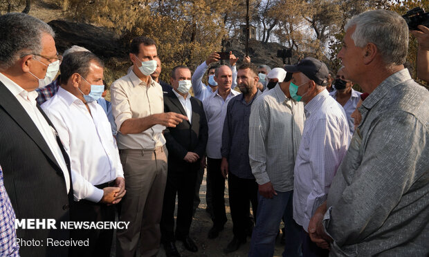 Suriye lideri Esad'dan yangın bölgesine ziyaret