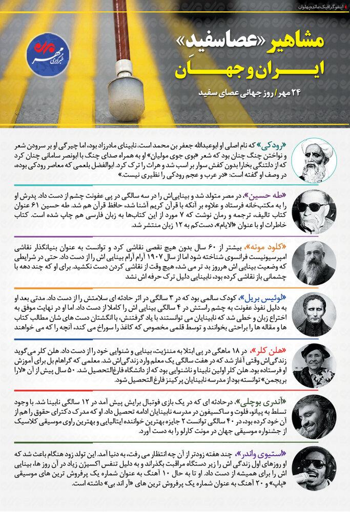 مشاهیر عصاسفید ایران و جهان+اینفوگرافیک