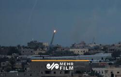 لحظه شلیک راکت از غزه به سمت شهرک های صهیونیستی