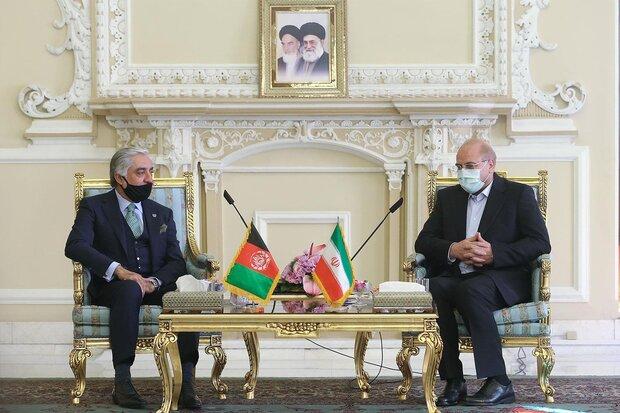 رئيس البرلمان الإيراني يستقبل عبدالله عبدالله