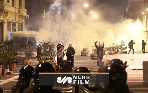 درگیری پلیس با معترضان به محدودیتها در اروپا