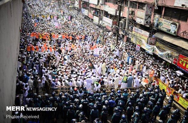 تظاهرات مردم بنگلادش علیه مکرون