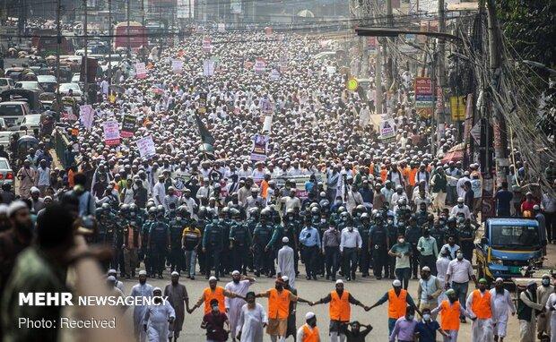 Bangladeş'te Macron protestosu