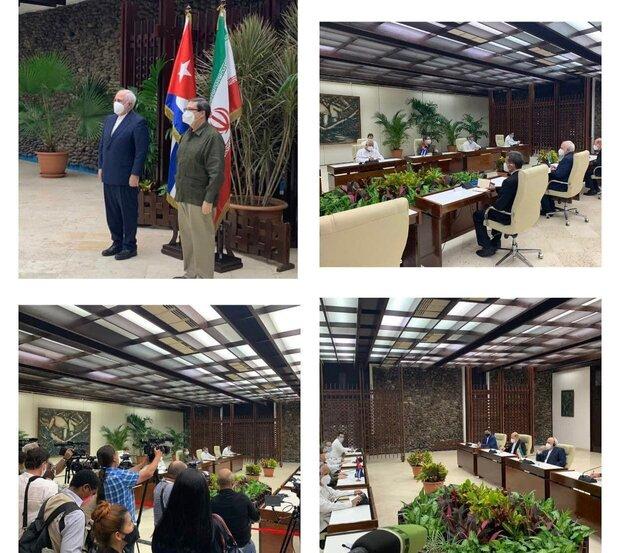 ظريف يبحث مع نظيره الكوبي حول التعاون الثنائي والقضايا ذات الاهتمام المشترك