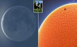 تصویر ایستگاه فضایی بین المللی با پس زمینه ماه و خورشید ثبت شد