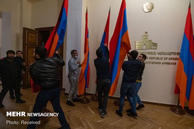 Scenes of protests in Armenian Parliament