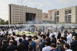 بقیۃ اللہ اسپتال میں مدافع سلامت شہید کی تشییع جنازہ