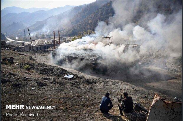 ارمنیهای ساکن قرهباغ خانههای خود را آتش زدند
