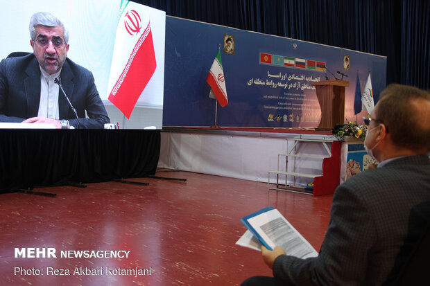 رضا اردکانیان وزیر نیرو در همایش بین المللی اتحادیه اقتصادی اوراسیا در منطقه ازاد انزلی به صورت ویدئو کنفرانس