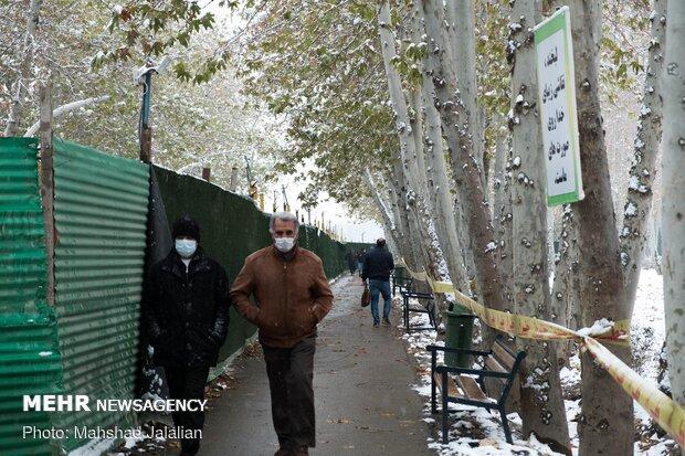 بارش اولین برف پاییزی در مشهد