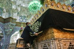 Hazrat Masoumeh holy shrine in Qom blanketed in black