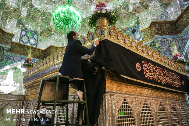 Hazrat Masoumeh holy shrine in Qom blanketed in black