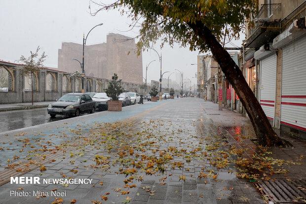 Autumn snowfall in Tabriz