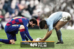 ادای احترام مسی به مارادونا بعد از زدن گل