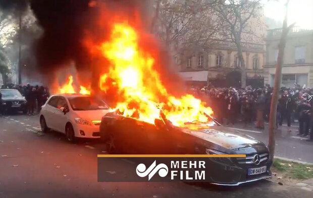 فرانسیسی مظاہرین نے گاڑی کو آگ لگادی