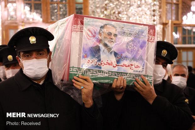 طواف پیکر دانشمند هسته ای، شهید محسن فخری زاده در حرم مطهر رضوی