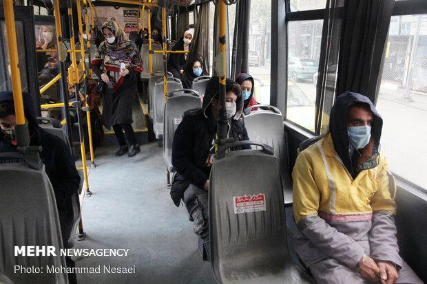 Disinfecting public transportation fleet in Gorgan