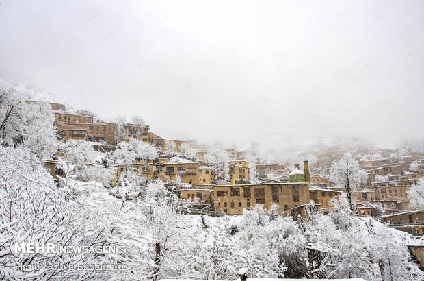 Charming scenery of autumn snow in Masuleh
