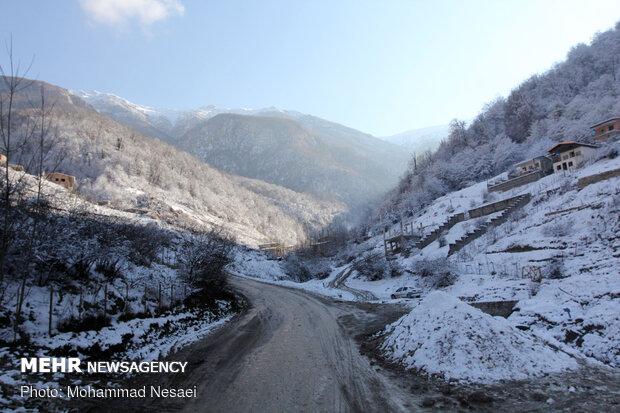 Autumn snow whitens Ziarat village in North Iran