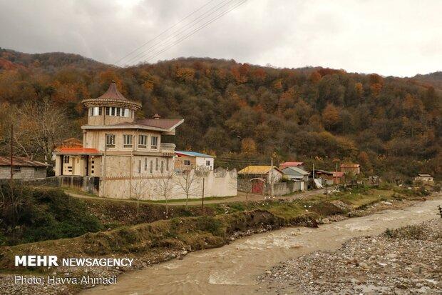 Autumn leaving Kar Salar village in December