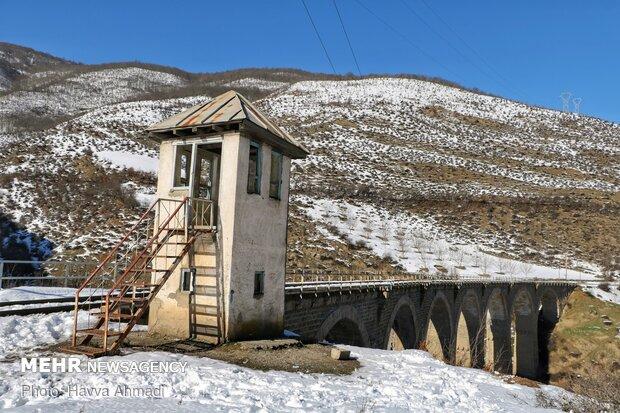 Kalantari Bridge covered with snow