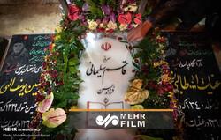 حضور صالح الفیاض و هادی العامری بر سر مزار شهید سلیمانی