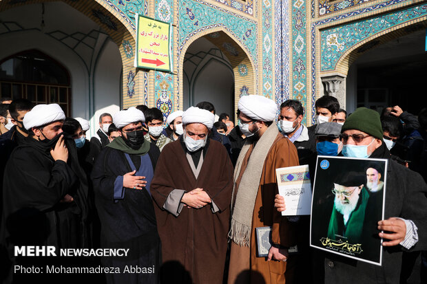 Funeral procession of Ayat. Mesbah-Yazdi held in Rey