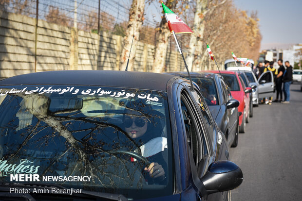 Vehicle parade on martyr Soleimani's 1st anniv. in Shiraz