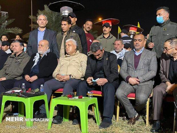 مراسم بزرگداشت سالگرد شهادت سردار سلیمانی و ابومهدی المهندس در محل شهادت آنها
