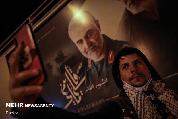 مراسم بزرگداشت سالگرد شهادت حاج قاسم و ابومهدی در محل شهادت آنها