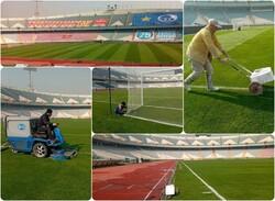 رنگ آمیزی ورزشگاه آزادی برای دربی ۹۴ پایتخت