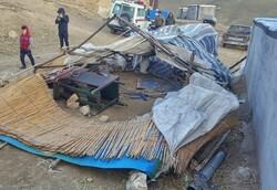 خسارت تُندباد به روستای ساریلار شهرستان اهر