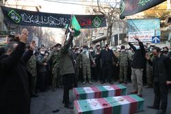 تہران میں دو گمنام شہیدوں کی تشییع جنازہ
