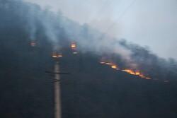 وزش باد آتش سوزی جهان نما را گسترده تر کرد/ بالگرد وارد منطقه شد