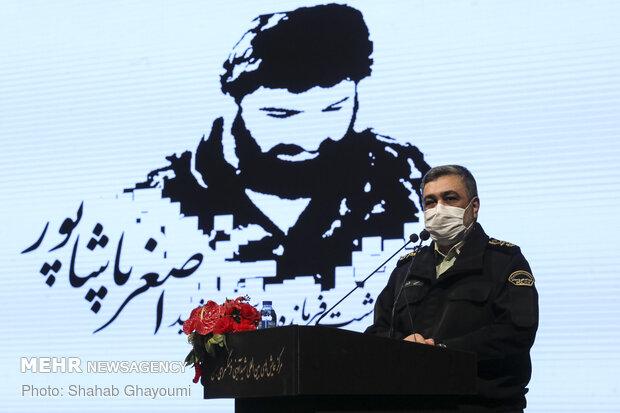 حضور حسین اشتری فرمانده نیروی انتظامی در  مراسم اولین سالگرد و بزرگداشت فرمانده شهید «اصغر پاشاپور»