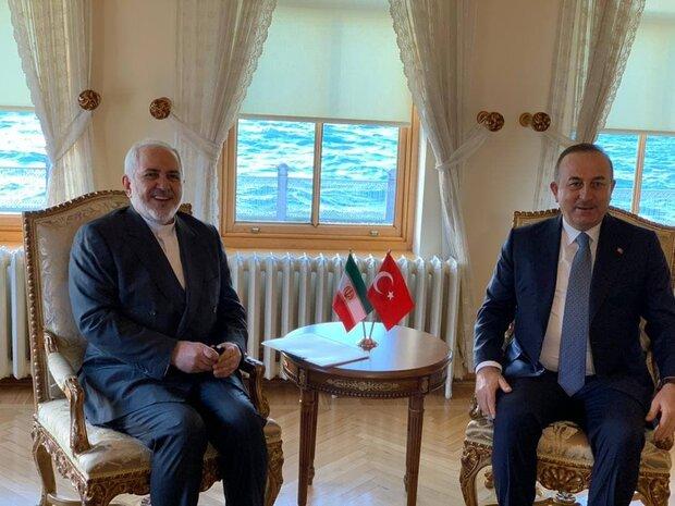 ظریف کی ترکی کے  وزیر خارجہ سے ملاقات اور گفتگو