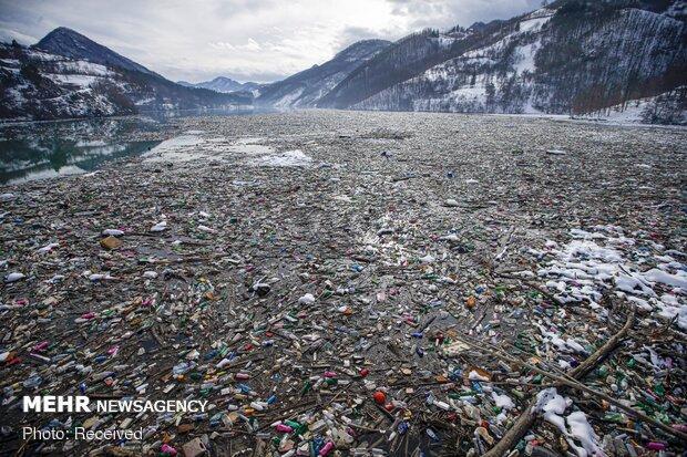 زبالههای شناور در رودخانه صربستان