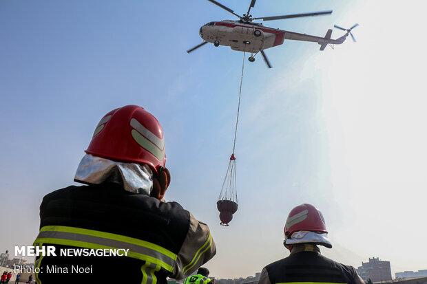 اولین بسکت هوایی اطفا حریق در تبریز
