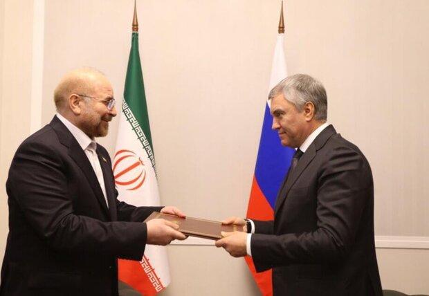 Galibaf, Devrim Lideri'nin özel mektubunu Duma Başkanı'na sundu