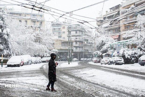 بارش برف شدید و کم سابقه در یونان
