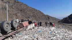 تصادف تریلی و کامیونت در جاده قدیم تهران-جاجرود/۲ نفر فوت شد