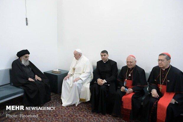 آیت اللہ سیستانی کے دفترکا پوپ سے ملاقات کااعلامیہ جاری/فلسطینی مسلمانوں کے مصائب دور کرنے پر تاکید