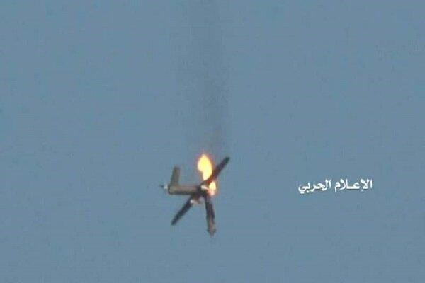 پهپاد متجاوز سعودی با موشک مناسب هدف قرار گرفت و سرنگون شد