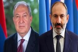 رئيس جمهورية ورئيس وزراء ارمينيا يبعثان برسالة تهنئة الى قائد الثورة