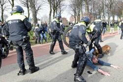 درگیری پلیس هلند با معترضان به قوانین سختگیرانه قرنطینه