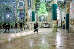 غبار روبی مسجد مقدس جمکران در آستانه نیمه شعبان