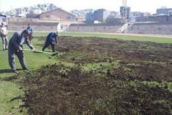 عملیات بازسازی چمن استادیوم ملک نیا سنندج آغاز شد